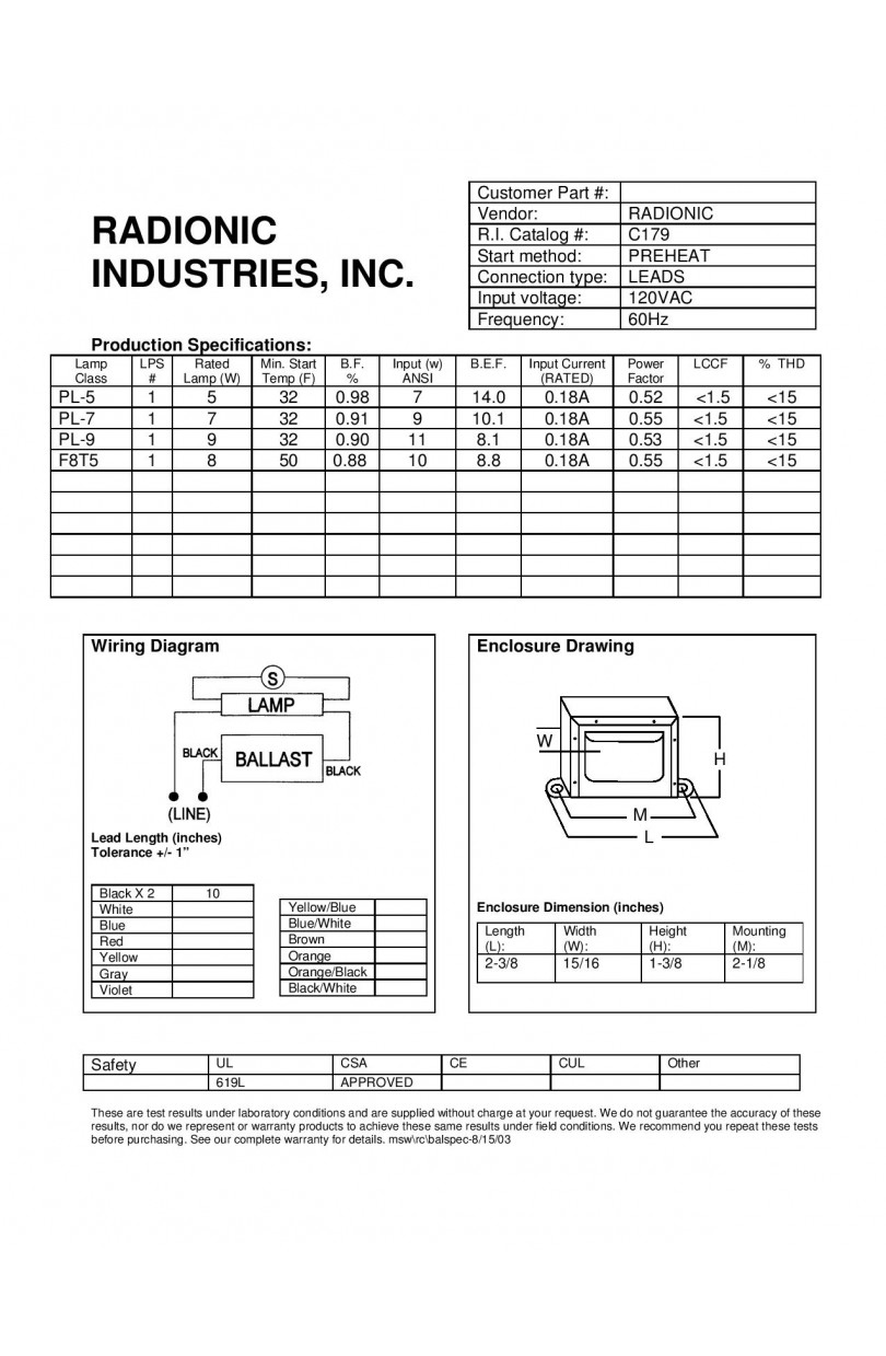 F8t5 Ballast Wiring Diagram Electrical 2 Bulb Trusted F21t5 C179 Radionic Industries Robertson